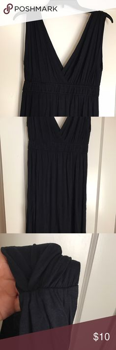 Navy blue pullover deep vneck dress Deep navy pullover dress. Grecian style draping. Gathered at shoulder. Bust 17, waist 14, length 37 from shoulder, full float skirt. Size tag missing see measurements. Never worn. Ann Taylor Dresses Midi