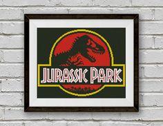 BOGO FREE! Jurassic Park Cross Stitch Pattern, Logo Cross Stitch Pattern, Dinosaur Cross Stitch Chart Embroidery  PDFInstant Download #001-3