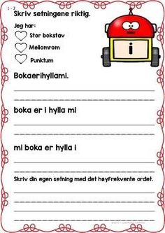 Skrive setninger med høyfrekvente ord 1 by LaerMedLyngmo Second Grade, Classroom, Teacher, Activities, Writing, Education, Norway, School Ideas, First Class