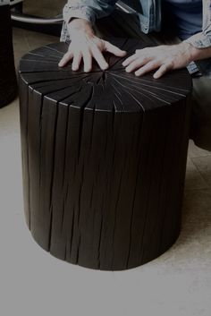Shou Sugi Ban end table made from reclaimed Tan Oak by Brad Wilson.
