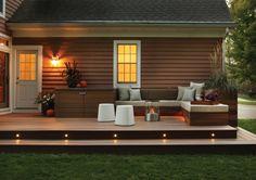 Backyard Deck and Patio Ideas . Backyard Deck and Patio Ideas . Timbertech Deck Design with Patio Outdoor Kitchen by Long Backyard Patio Designs, Backyard Landscaping, Low Deck Designs, Landscaping Design, Outdoor Deck Lighting, Outdoor Decor, Stair Lighting, Pergola Lighting, Landscape Lighting