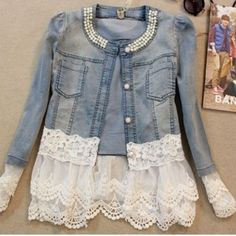 embellished jean jacket with lace ideas - Google Search