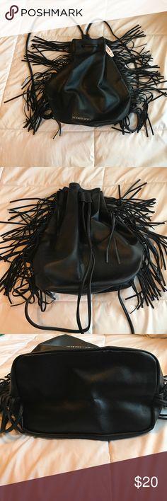 Victoria Secret Fringe Backpack Black leather fringe VS backpack. New with Tags. Victoria's Secret Bags Backpacks