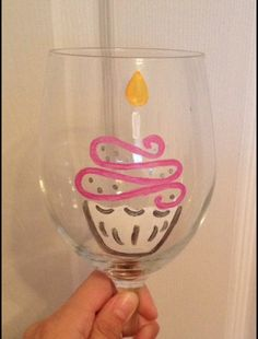 Birthday Cupcake hand painted wine / beer glass by SassySipsByMarissa on Etsy