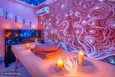 Oświetlenie salonu masażu wymaga kreatywnego podejścia. W salonie masażu oświetlenie powinno mieć za zadanie nastrajać pozytywnie, ozdabiać, wprawiać w dobry nastrój. Do salonu masażu potrzebne jest oświetlenie dekoracyjne, które będzie współgrało z niezwykłą atmosferę tego miejsca. Oświetlenie do salonu masażu wymaga specjalnego zaprojektowania. Na naszych zdjęciach widać piękne, świetlne wzory na ścianie, zdobiące nowoczesny salon masażu. Na suficie w salonie masażu możemy podziwiać z…