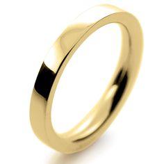 18ct Yellow Gold Wedding Rings Heavy Flat Court - 2.5mm