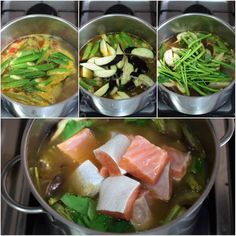Sinigang na Tiyan ng Salmon (Salmon Belly Sour Soup) - CASA Veneracion Healthy Food Recipes, Fish Recipes, Seafood Recipes, Asian Recipes, Soup Recipes, Asian Foods, Delicious Recipes, Recipies, Filipino Vegetable Recipes
