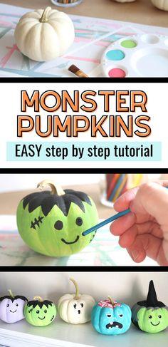 5 Painting Tutorials: Simple Monster Pumpkins