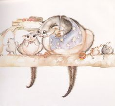 Beautiful soft watercolours by Julie Vivas for Possum Magic by Mem Fox Children's Book Illustration, Watercolor Illustration, Book Illustrations, Possum Magic, Magic English, Fox Character, Little Mac, Leaf Drawing, S Pic