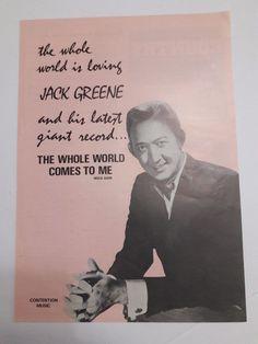 Jack Greene Music Ad World Comes To Me Album Full Color