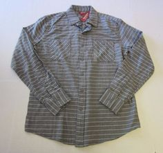 Arizona Shirt M Medium Flannel Gray Stripe LS Long Sleeve Button Front Mens NEW #Arizona #ButtonFront
