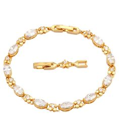 Find More Charm Bracelets Information about Glam Luxe Mysterious 18K Gold plated White Topaz wedding fashion jewelry Bracelets & bangles 20cm 7.87 inch B127,High Quality bangle resin,China bangle diamond Suppliers, Cheap bangle gold from Dana Jewelry Co., Ltd. on Aliexpress.com