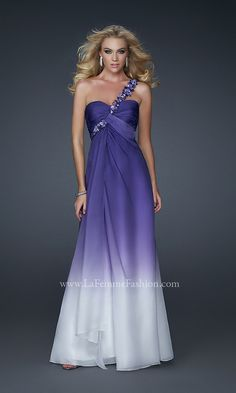 Long One Shoulder Purple Ombre Dress Lf 17182 Instead Of The Fade Have White Flowers