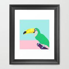 Chilling Toucan by Kangarui  #watercolor #artprint #toucan #society6 #pastel #surfacedesign
