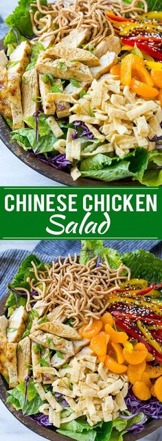 This recipe for Chinese chicken salad is loaded with chicken, veggies, won tons and mandarin oranges, all tossed in a sesame ginger dressing. My all time favorite salad!                                                                                                                                                                                 More
