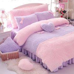 Full Size Solid Pink Princess Style Fluffy Bedding Sets Warm Duvet Cover with Zipper Ties Small Room Bedroom, Bedroom Sets, Girls Bedroom, Bedroom Decor, Purple Bedrooms, Purple Bedding, Fluffy Bedding, Kawaii Bedroom, Velvet Duvet