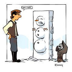 Han and Kylo (Calvin and Hobbes and Star Wars mashup) - by Brian Kesinger - #2