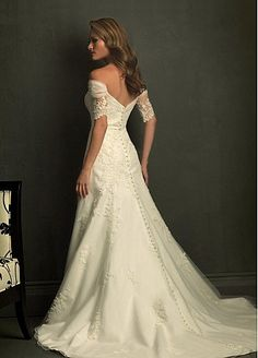 Buy discount Elegant Tulle A-Line Off-the-shoulder Wedding Dress With Appliques and Beadings at dressilyme.com