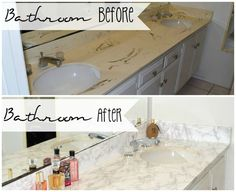 A quick and easy project, that doesn't cost a fortune but makes me feel like I just got a brand new Master Bathroom Marble Vanity without the high end cost.  Wo…