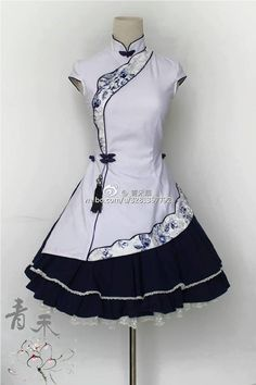 Black and White Cheongsam Lolita Dress - Diy Best Tattoo ideas Mode Outfits, Dress Outfits, Fashion Dresses, Dress Up, Scene Outfits, Easy Dress, Jumper Dress, Pretty Outfits, Pretty Dresses