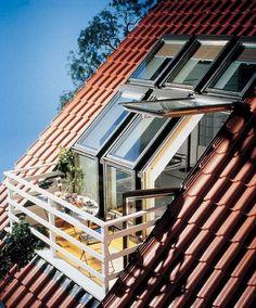 Love this conversion of skylight to porch in an attic space. - Home Decoz Attic Loft, Loft Room, Attic Rooms, Attic Spaces, Attic Bathroom, Attic Office, Attic Apartment, Attic Renovation, Attic Remodel
