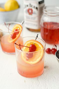 Cheers to spring with a Whiskey Sour Sunrise! Whiskey, freshly squeeze lemon juice and homemade cherry simple syrup makes for one excellent adult beverage! Yields 2 drinks in minutes. Whiskey Sour, Whiskey Cocktails, Wine Drinks, Cocktail Drinks, Cocktail Recipes, Alcoholic Drinks, Beverages, Sour Cocktail, Whiskey Girl