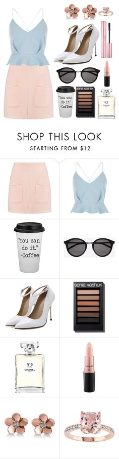 """Baby Pink & Blue"" by maddieschnack ❤ liked on Polyvore featuring See by Chloé, River Island, Yves Saint Laurent, Chanel, MAC Cosmetics and Allurez"