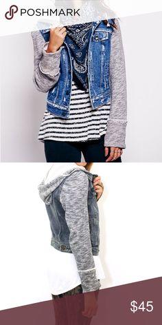 Free people knit denim jacket Grey knit and denim jacket with detachable hood Free People Jackets & Coats Jean Jackets