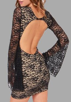 1ab2a1082c37 $15.28 Black Patchwork Lace Hollow-out Round Neck Mini Dress online with  cheap prices and. Bychicstyle.com