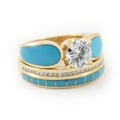 turquise with gold and diamond