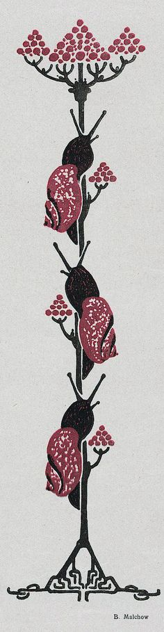 ¤ B. Malchow. Jugend magazine, 1916. Flower and snails in black and red