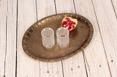 Brass Tray, Metal Tray, Brass Serving Tray, Oval Brass Tray, Oriental Brass Tray, Cocktail Tray, Platter, Brass Coin Tray, Solid Brass Tray