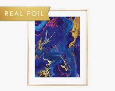 Vivid Marbling Real Foil Art Print 11x14 8x10 5x7