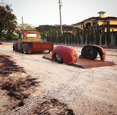 Rat Rod Truck and Trailer - so cool. I wanted to do something similar with my 60 Ford and a 60 Ford bed trailer Lowrider, Custom Trucks, Custom Cars, Custom Trailers, Cool Trucks, Cool Cars, Big Trucks, Villa Del Carbon, Chevy Trucks