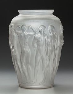 Fine and Rare R. Lalique Frosted Glass Palestre Vase Circa 1928. Molded R. LALIQUE, FRANCE M p. 441, No. 1012. Ht. 16 in.