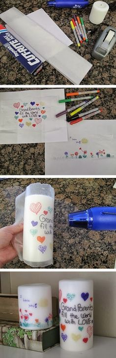 DIY Personalized Candle - kids or grand-kids can make and give as a gift. Sorry no link or directions other than the picture tutorial shown.  Kids draw picture on wax paper then wrap it around a white candle and heat with hair dryer until it melts onto the candle.  Neat idea.