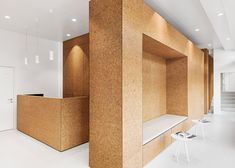 Looking back at the best interior design projects of the year in 2016 include a London apartment for two film directors and a heart clinic lined with cork. Commercial Design, Commercial Interiors, Office Interior Design, Office Interiors, Cafe Interior, Interior Paint, Commercial Architecture, Interior Architecture, Cork Flooring