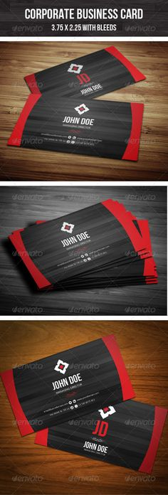 Simple but creative free corporate business cards design on specific black background texture with combination of red color.