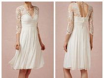 Short-weiße Spitze Brautkleider mit Ärmeln