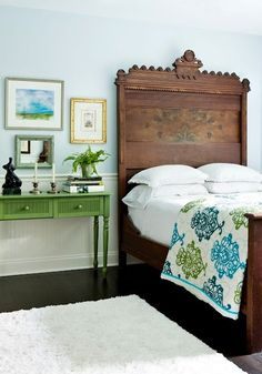 green, blue, brown bedroom