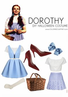 Easy DIY Halloween Costumes - Dorthy from Wizard of Oz #diy #halloween