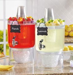 """Chill a boozy concoction and water (and label accordingly) in <a href=""""https://www.amazon.com/Buddeez-Beverage-Dispensers-gallon-Clear/dp/B0153DJV8A/"""" target=""""_blank"""">twin beverage dispensers</a>."""