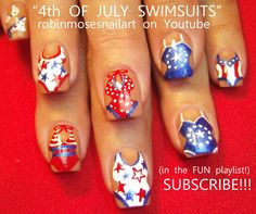 swim suit nail, bathing suit nail, 4th of july nail, 4th of july ...