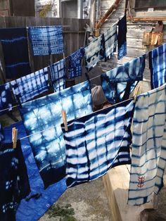 Drying shibori
