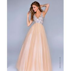 Nc-8006 Nina Canacci 2014 Prom Dresses - Nude Organza & Beaded Ball... (520 AUD) ❤ liked on Polyvore featuring dresses, gowns, organza prom dress, v neck evening dress, plunge dress, nude dresses and beaded prom gown