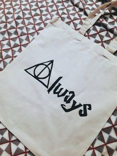 Harry Potter Always Themed Tote Bag! Drawn and painted free hand. Can be given as a present or for every day use! Perfect for any Harry Potter Fan! Prices for shipping may vary depending on location. Happy Shopping :)