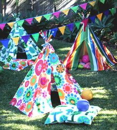 Find your quality, personalised, handmade kids teepee tents and Tee Pee Slumber Party Hire from Banana J Creations.