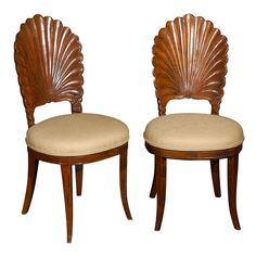 1920's Wood Carved Shell Chairs--these are beautiful!