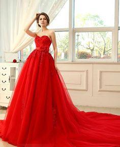 somosnovias:Vestidos de novia rojos Diseños Espectaculares!