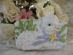 Vintage Lamb Planter Baby Lamb Decor Easter Lamb by Fannypippin